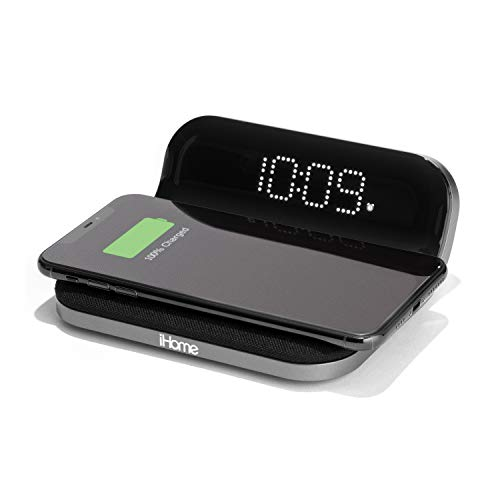 iHome iW18 Compact Digital Alarm Clock with USB and Qi Wireless Charging for iPhone 12, 11, XR, XS, X, 8, Galaxy S20, Z Flip, Fold, S10, S9, S8, Note 10, 9 and More