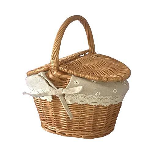 Handgjorda rotting vävt bälte dubbel lock picknick korg fruktkorg med handtag camping picknick korg arrangör (Color : Brown)