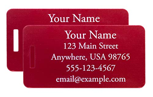 Two Custom Engraved Aluminum Luggage Tags (Red)