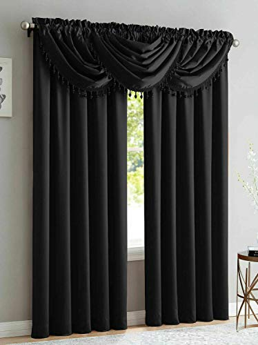 Luxury Home Textiles Bridget 5 Piece Crushed Satin Curtain Set with Beaded Austrian Valances, 84' Long (Black)