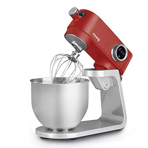 H.Koenig KM124 - Robot da cucina professionale, multifunzione, 5 l, in acciaio inox rosso opaco, potente, 800 W, 8 velocità