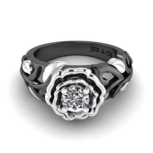 Jbr - Anillo de compromiso de plata de ley con diseño de vid y hoja solitario para mujer, aniversario, novia, regalo de cumpleaños con hermosa caja de joyería