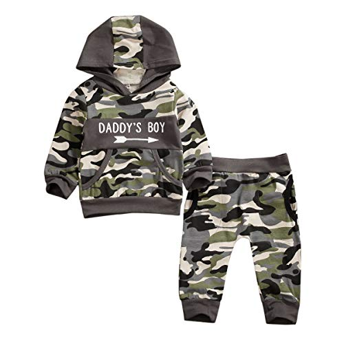 nvIEFE Infant Baby Hoodie Langarm Hosen Set Kleinkind Jungen Camouflage Outfit Kleidung Tops Hosen Outfit Sets (Tarnen, 2-3y)