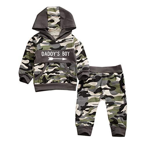 Geagodelia 2tlg Babykleidung Set Baby Jungen Kleidung Outfit Kapuzenpullover Top + Hose/Shorts Neugeborene Kleinkinder Weiche Babyset T-25683 (2-3 Jahre, Camouflage 192 - Langarm)
