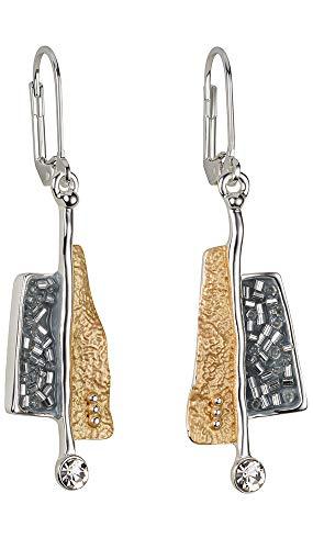 Perlkönig | Damen Frauen | Ohrringe Set | Ear Cuffs | Phantasie in Schwarz Silber Gold | Tricolor | Zirkonia Glitzer Stein | Klappverschluss |Nickelabgabefrei