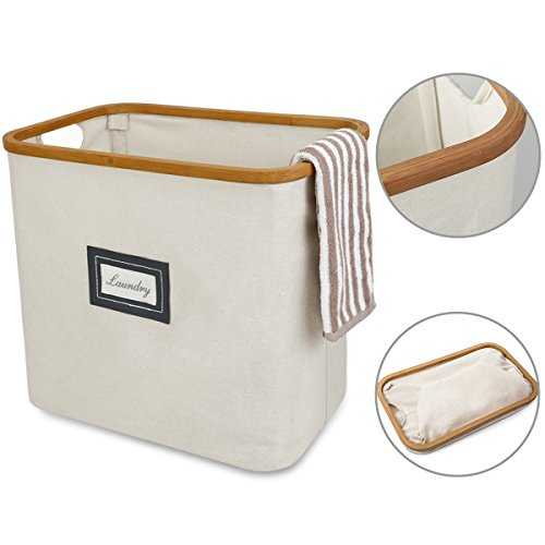 WISHPOOL Bamboo and Canvas Laundry Hamper Baskets Foldable Dirty Clothes Storage Bin Cut Out Handles...