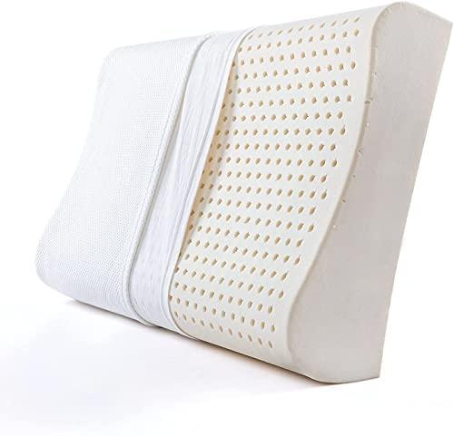 Almohada de Látex Natural para Quienes Duermen de Lado, Almohada Cervical para el Dolor de Cuello, Almohadas de Contorno Transpirables para Dormir con Funda Lavable, Curva Ergonómica de Apoyo