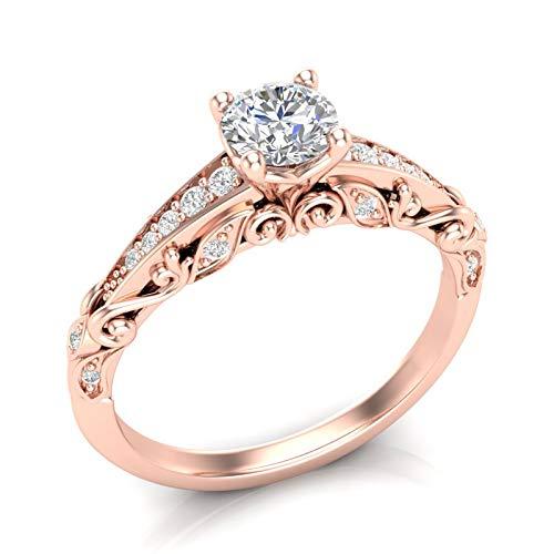 Amazon Com Rose Gold Engagement Ring Vintage Filigree Ring Rose Gold Ring 14k Scroll Engagement Ring Milgrain Filigree Engagement Ring Art Deco Antique Ring Forever One Colorless Moissanite Center Ring Her Handmade