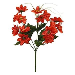 Floral Décor Supplies for Artificial Red Mini Poinsettia Bush Silk Fake Miniature Christmas Bouquet Flower for DIY Flower Arrangement Decorations