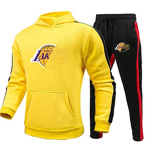 Chándal deportivo para hombre Chaqueta y pantalones de 2 piezas Lakers Sudadera con capucha de manga larga a contraste para hombre Traje deportivo Chándal completo Uniforme de baloncesto-Medio