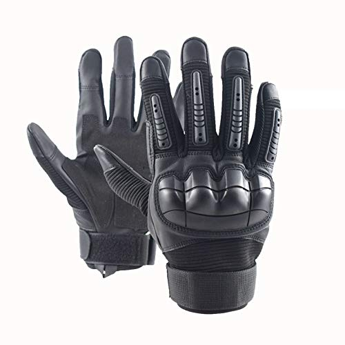 Leather Gloves Tactical Military Police Army Combat Shooting Cut Resistant Hand Protection Gloves for Men Women (Black, M)