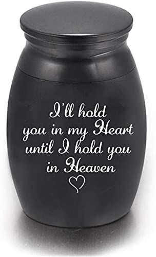 Urnas de cremación para cenizas Urnas conmemorativas de Beautiful Life Urnas de cremación para humanos / mascotas Aluminio pequeño - Te sostendré en mi corazón hasta que te sostenga en el cielo-Dor