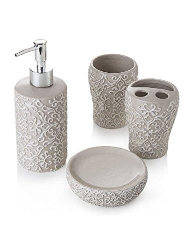 Set da Bagno 4 Pezzi, Portasapone, dispencer, bicchiere e Portaspazzolino in Ceramica Tortora Decorata