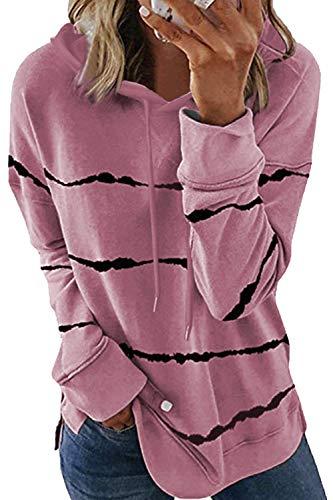 KINGFEN Sweatshirts für Damen Damenpullover Winterjacke Hoodie Oversize Pullover Mädchen Vogue Sweatpullover Tops Langarmshirt Damen Kapuzenpullover für Damen Hoodie Freizeit Rosa XL