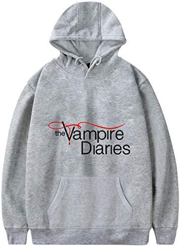 EMLAI Damen Kapuzenpullover The Vampire Diaries Druck Fashion Casual Langarm Hoodie (L, Grau)