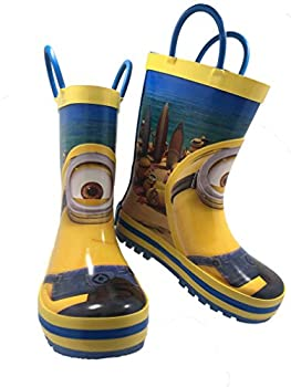 Despicable Me Minions Kids Rubber Character Rain Boots with Easy-On Handles