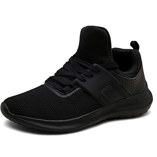 DENGBOSN Turnschuhe Laufschuhe Leichte Sportschuhe Schnürer Fitness Sneaker für Herren Damen (Schwarz, Numeric_44)