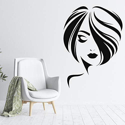 yaonuli Mädchen Kurze Frisur Wandaufkleber Friseursalon Aufkleber Wandaufkleber Schlafzimmer Art Deco 74x101cm