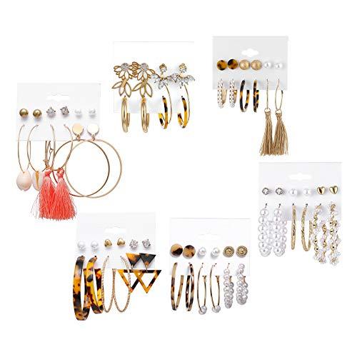 Colcolo 36 Pares de Pendientes de Moda para Mujer, Pendientes con Borla para Chicas Adolescentes y Conjunto de Joyas con Broche de Perlas, Pendientes de Aro