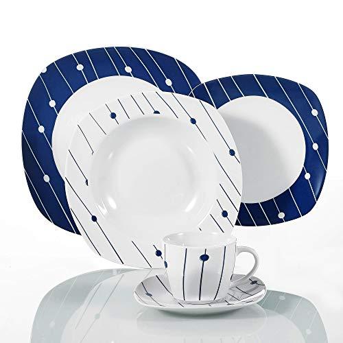 VEWEET 'Dot' Service de Table en Porcelaine | 30 pièces Service combiné, Set de Vaisselle, Blanc Bleu