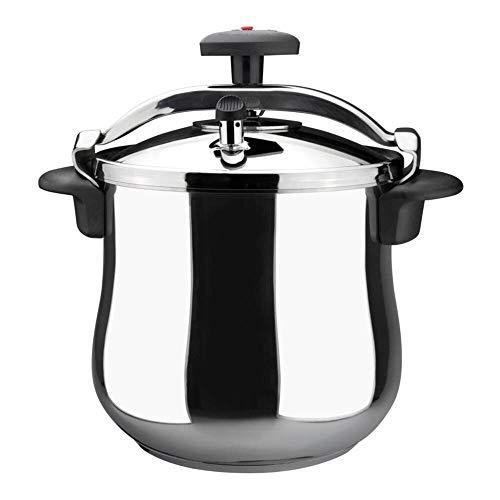 MAGEFESA STAR Olla presión rápida de fácil uso, acero inoxidable 18/10, apta para todo tipo de cocinas, incluido inducción. Fondo termodifusor encapsulado de 5capas, excelente distribución del calor