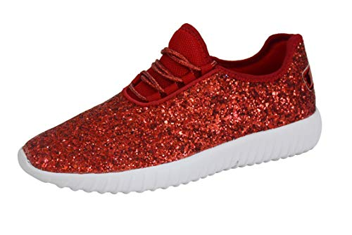 ROXY ROSE Women Fashion Jogger Sneaker - Lightweight Glitter Quilted Lace up Shoes & Elastic Tongue(11 B(M) US, Red)