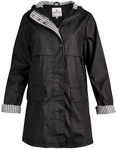 URBAN REPUBLIC Women's Lightweight Vinyl Hooded Raincoat Jacket (Black/Cinched Waist, 2X)