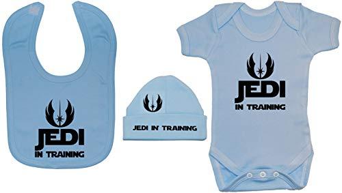 Acce Products Jedi en el Entrenamiento Bodysuit/Mameluco del bebé, alimentando el Babero y el Sombrero/la Tapa de la Gorrita Tejida - 3-6 Meses - Azul