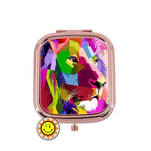 Miroir de Poche Femme Cadeau Fantaisie Original Lion Animal Pop Couleur