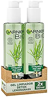 Garnier Bio, Gel Limpiador Détox Lemongrass con Aceite Esencial de Citrinola Ecológico y Glicerina, Atrapa la Suciedad, Gr...