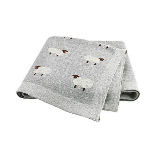Taotigzu Babydecke Baumwolle kuschelige Strickdecke Swaddle Empfangen Decken,80 x 100 cm,Vielseitig Nutzbare Baby Wolldecke als Kinderwagendecke (Grau)