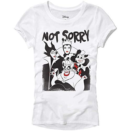Disney Villians Not Sorry Maleficent Ursula Womens Juniors T-Shirt (White,Medium)