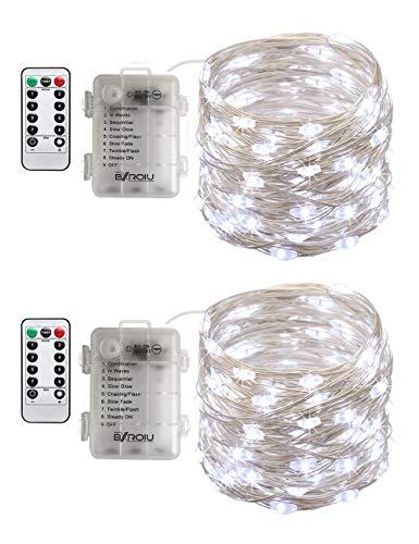 BXROIU 2 x50Leds Silbernedraht Micro Lichterkette Batteriebetrieb 8 Programm (Kaltes Weiß)
