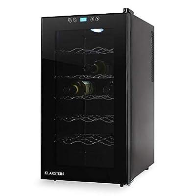 Klarstein Vivo Vino - V2, Refrigerator for Drinks, Wine Refrigerator, Temperature Range: 11°-18° C, Interior Lighting LED, Door Side Grip, 70 W, 52 L, 18 Bottles, 5 Shelves, Silent, Black