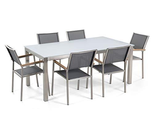 Beliani - Table de Jardin et 6 Chaises - Grosseto - Plateau en Verre, 180 x 90 cm, Chaises en Tissu, Blanc et Gris