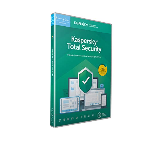 Kaspersky Total Security 2020 | 5 Devices | 1 Year | Antivirus, Secure VPN and Password Manager Included | PC/Mac/Android | Activation Code by Post|5 Devices 1 Year|5|1 Year|PC|Download