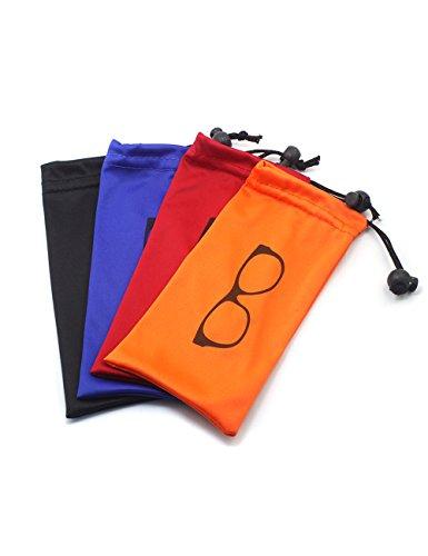 Global Glasses Almacenamiento suave Bolsa Microfibra con cordón Cerradura para gafas, tarjetas, bolígrafos, llaves, bolso, artículo pequeño para ahorrar espacio(4 PCS colores/juego)