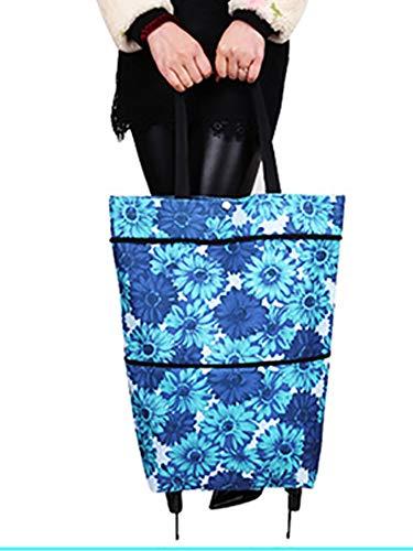Suny Smiling Faltbare Einkaufstasche mit Rädern, faltbare Trolley-Tasche auf Rädern für Frauen, wiederverwendbarer Einkaufstrolley, schwere Kapazität Tasche #7306 32x14.5x55cm blau