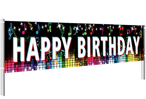 TIK Tok Happy Birthday Backdrop Banner Yard Sign Fashion Music Notes Bright Stars for Birthday Decorations Background Bunting (19.6'* 118')