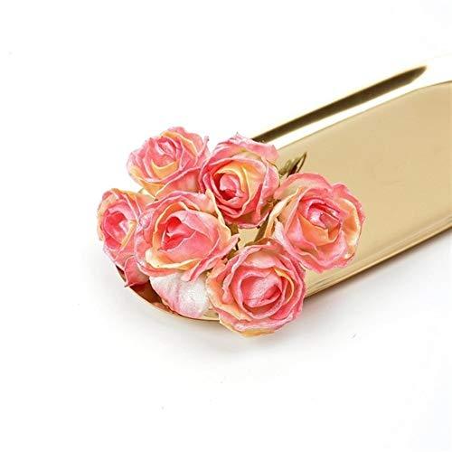 Heinside Do not fade 6pcs Artificial Flower Silk Bright Pink Rose Bouquet for Wedding Home Christmas Decoration DIY Garland Scrapbook Craft Supplies Charming (Color : Peach powder)
