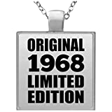 52nd Birthday Original 1968 Limited Edition - Square Necklace Silver Plated Charm Pendant Chain - Gift for Friend Kid Daughter Son Grand-Dad Mom Halskette Quadrat Versilberter Anhänger - Geschenk z