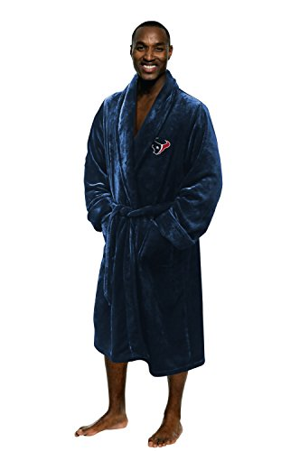 The Northwest Company Officially Licensed NFL Houston Texans Men's Silk Touch Lounge Robe, One Size, Navy