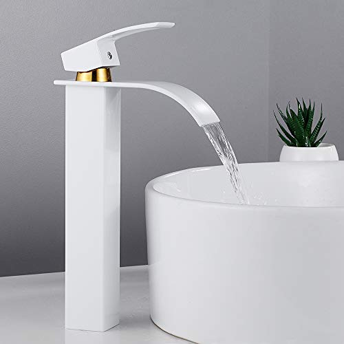 Grifo baño lavabo cascada alto mezclador baño alto en cascada con agua caliente y fría de latón (blanco dorado)