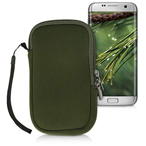 kwmobile Custodia in Neoprene con Zip per Smartphone M - 5,5  - Astuccio Portacellulare a Sacchetto con Cerniera - Borsa in Verde Scuro