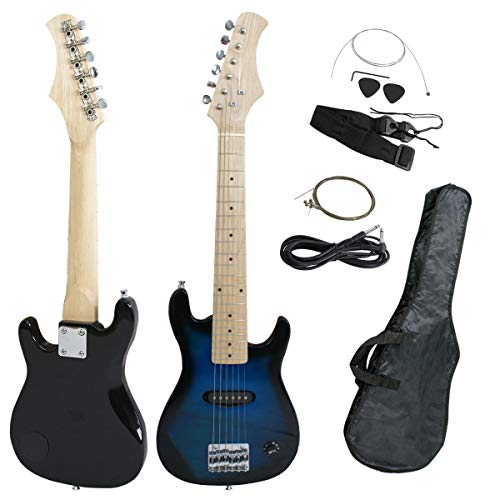 Smartxchoice - Guitarra eléctrica para niños de 30 pulgadas con carcasa de 5 W y correa negra, Blue(No Amp)