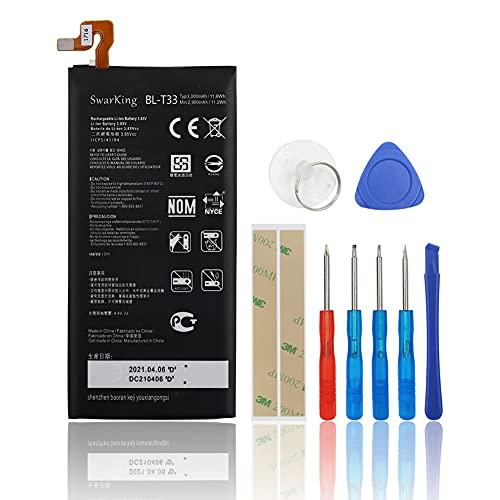 SwarKing Batería de repuesto compatible con LG Q6 G6mini M700A M700AN M700DSK M700N BL-T33 con kit de herramientas.