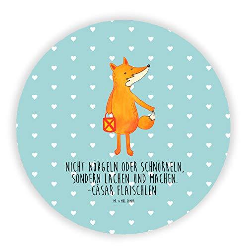 Mr. & Mrs. Panda Magnettafel, Kühlschrank Magnet, Rund Magnet Fuchs Laterne mit Spruch - Farbe Türkis Pastell