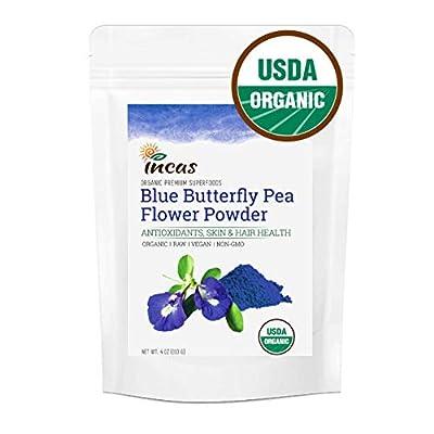 Incas 100% USDA Organic Premium Butterfly Pea Flower Powder 4 oz (113g) Culinary Grade Premium Vegan Non GMO All Natural Blue Food Coloring Blue Matcha Antioxidants Anti Aging Blue Pea Flower Powder
