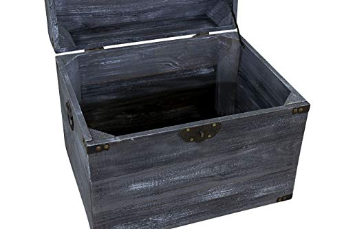 Vintage Möbel 24 GmbH 1x Traumhaft rustikale Holztruhe (45 x 35 x 35 cm, Shabby Schwarz) - 3