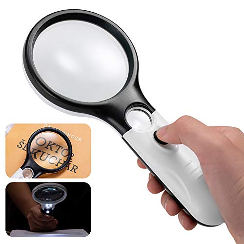 Magnifying Glass with Light, 3X 45X Handheld Large Magnifier, Lightweight LED Illuminated Magnifying Glass for Reading, Macular Degeneration, Inspection, Jewellery, Coins, Hobbies & Crafts